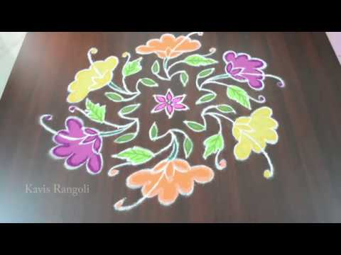 Beautiful Rangoli Design with Dots | Color Kolam Designs for Festival | Creative Muggulu