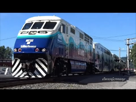 7 Sounder Train Rush Hour w/ Horn Blasting Music! Feat. F59PH & MP40PH Locomotives