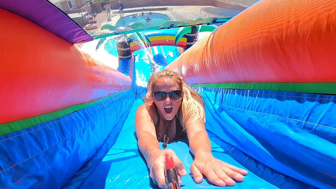 Worlds Biggest Inflatable Water Slide Youtube