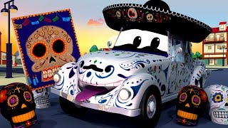 骸骨の車 - 死者の日 Día de Los Muertos ハロウィン アニメ 🚒 カーパトロール l 子供向けトラックアニメ 🚨 Skeleton Car ! coco 映画 thumbnail