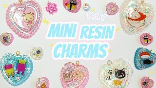 ♡ D.I.Y Heart Resin Charm Tutorial ⟣ using stickers! Puffy & regular