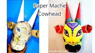 DIY Paper mache Cowhead | unique wall decor idea