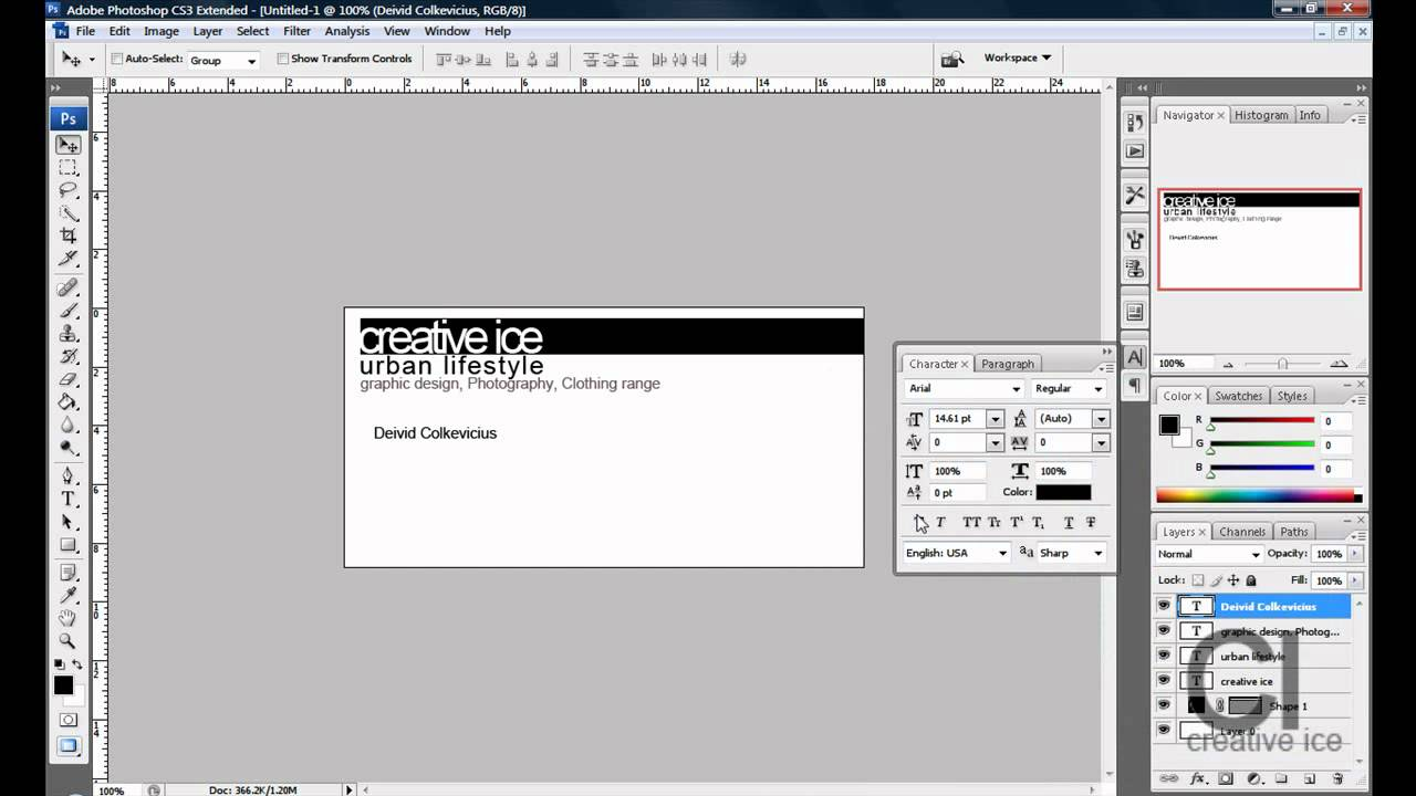 Photoshop cs3 cs4 how to make a professional business card youtube reheart Gallery