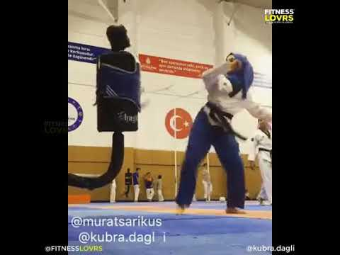 Brave Muslim girl with great Karate skills