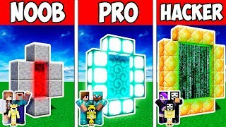 Minecraft Noob Vs Pro Vs Hacker  Family Modern Block Portal Adventure In Minecraft  Animation