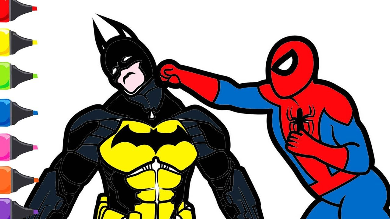 Spiderman Batman Boyama Renkleri Ogreniyorum Youtube