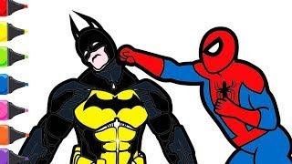 Spiderman Batman Boyama Renkleri Öğreniyorum