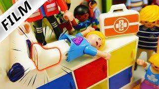 Playmobil Film Deutsch VON TREPPE GESTÜRZT! HANNAH BRICHT SICH DAS BEIN! SCHUL-UNFALL Familie Vogel