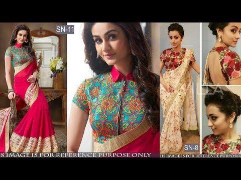 Trendy Chiffon Saree With Matching Designer Blouse // Daily wear saree 2017