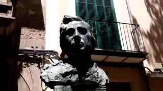 Bust of Frederic Chopin, old town of Palma de Mallorca, Mallorca, Balearic Islands, Spain