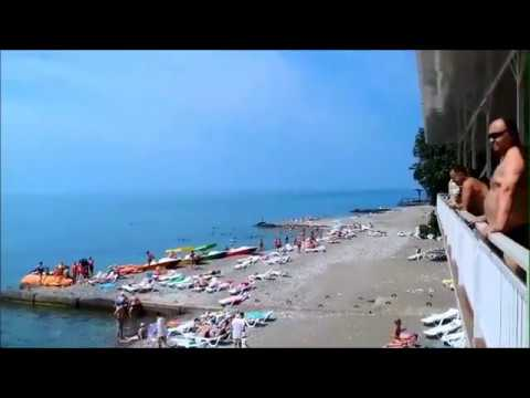 "Пляж пансионата ""Багрипш"". Абхазия. п.Холодная речка. Июнь 2019 год."