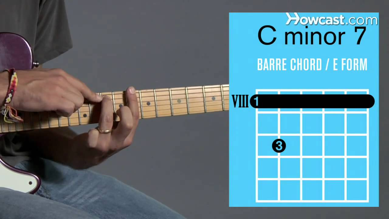 How To Play A C Minor 7 Barre Chord Guitar Lessons Youtube