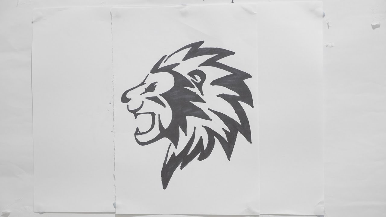 Ep 115 How To Draw Lion Head Tribal Tattoo Design 2 Youtube
