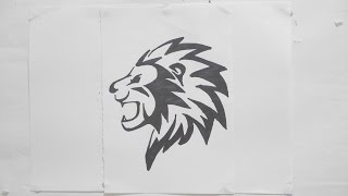 Ep. 115 - How to draw lion head tribal tattoo design #2