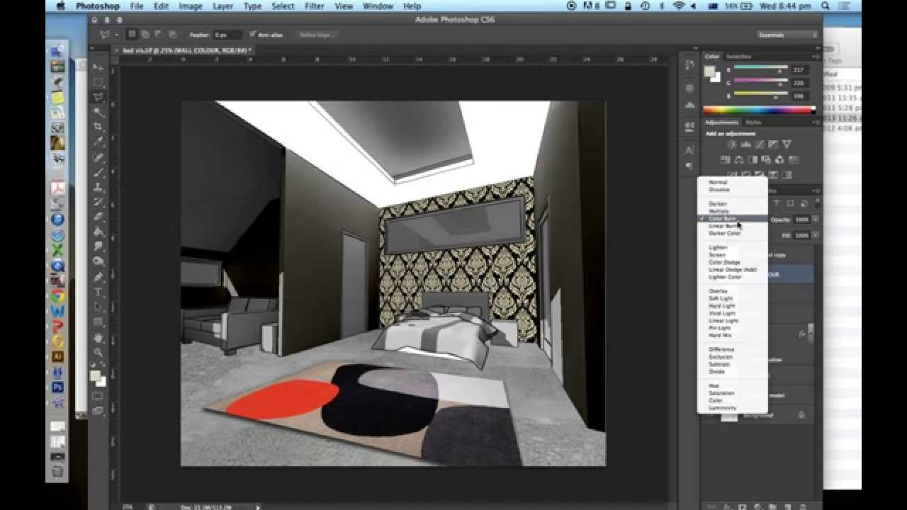 PHOTOSHOP   INTERIOR DESIGN VISUALISATION   PART 3   YouTube