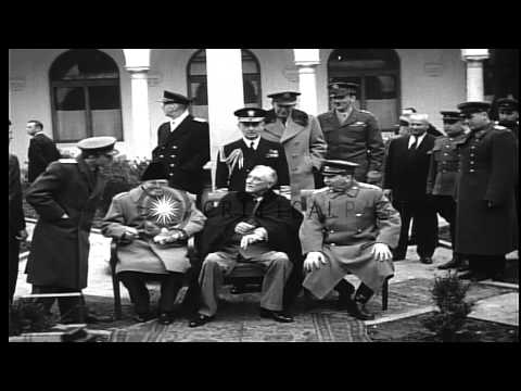 Winston Churchill, Franklin Roosevelt and Joseph Stalin with other officers at Ya...HD Stock Footage