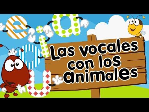 Las vocales A, E, I, O, U con animales para niños