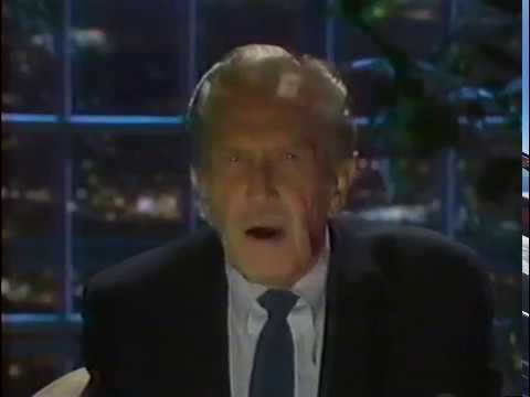 """VINCENT PRICE - DEMONSTRATES OMINOUS VOICE HE USED FOR MICHAEL JACKSON'S """"THRILLER"""", 1987"""