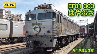 EF81-303 はやぶさヘッドマーク&スケルトンコンテナZX19A展示 九州鉄道記念館【4K】