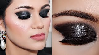 3 Step Shimmery Black Smokey Eye Makeup For Beginners |Tutorial In Hindi With Tips