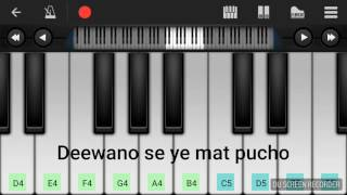 Deewano se ye mat pucho- Piano tutorial with notes- Easy