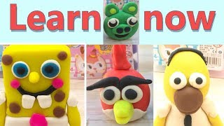 Learn how Angry Birds and Simpson and Sponge Bob and learn colors clay works