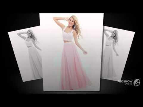 Светло розовый длинные платья выпускного вечера 2015 из двух частей верхний бюст линии пла