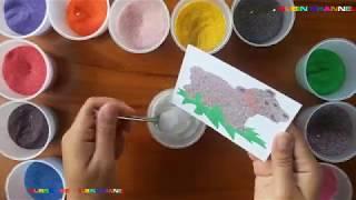 Tô màu tranh cát hình con Chó giữ nhà