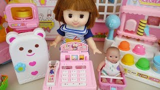Baby doll mart register surprise eggs and food toys play