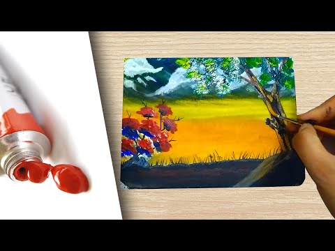 Painting a landscape with tree | Acrylic painting | Time laps