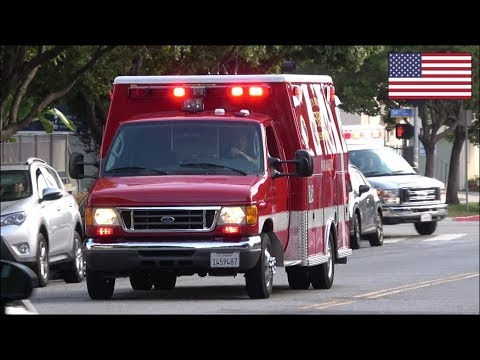 Ambulances transporting with epic manual siren use - Santa Monica