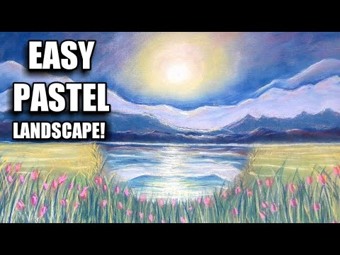 How to draw sunrise in PASTELS! Easy LANDSCAPE!! For beginners!