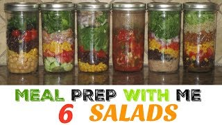 MEAL PREP WITH ME FOR WEIGHT LOSS  :6 Mason Jar Salads