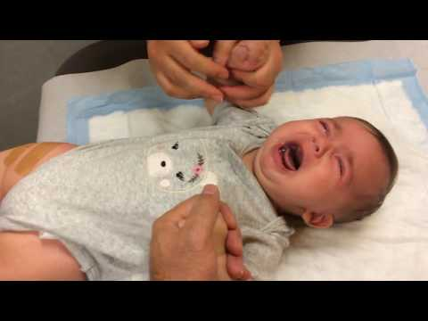 3 months old baby girl getting 3 Shot Vaccine in one