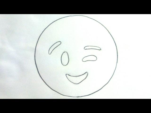 Cómo dibujar un emoticono guiño. Emoji guiñando un ojo | adibujar.com