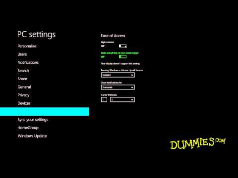 How to Use the Control Panel in Windows 8 For Dummies