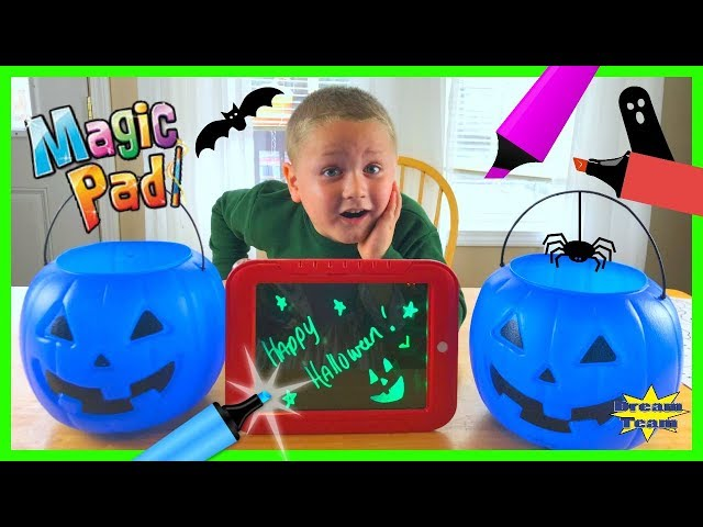 Halloween Three Marker Challenge With The Magic Pad, Glowing Coloring Kids Art For Halloween