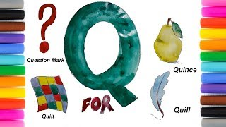 How to Draw Alphabet Letter Q - Drawing Question Mark and Quilt - Learn to Draw Quince and Quill