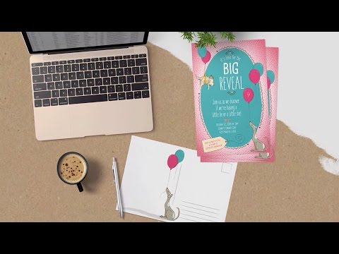 How to Design an Adorable Baby Gender Reveal Postcard in Ill