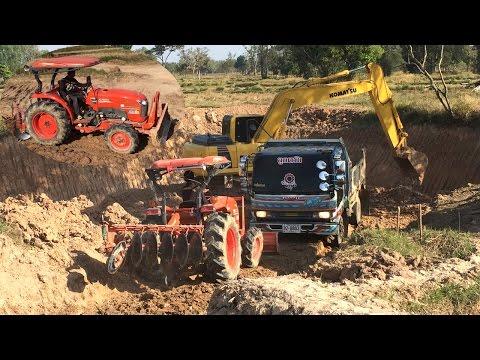 รถดั้มขึ้น-ลงปากบ่อ รถไถคูโบต้าเกรดดินทางขึ้น-ลงบ่อ งานขุดสระทีมงานธนบุรี Dump Truck and Tractor