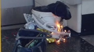 Burning device filmed on tube carriage at Parsons Green station thumbnail