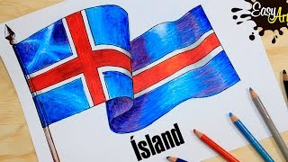 how to draw the flag of Iceland /hvernig á að teikna fána Íslands /PAR 2