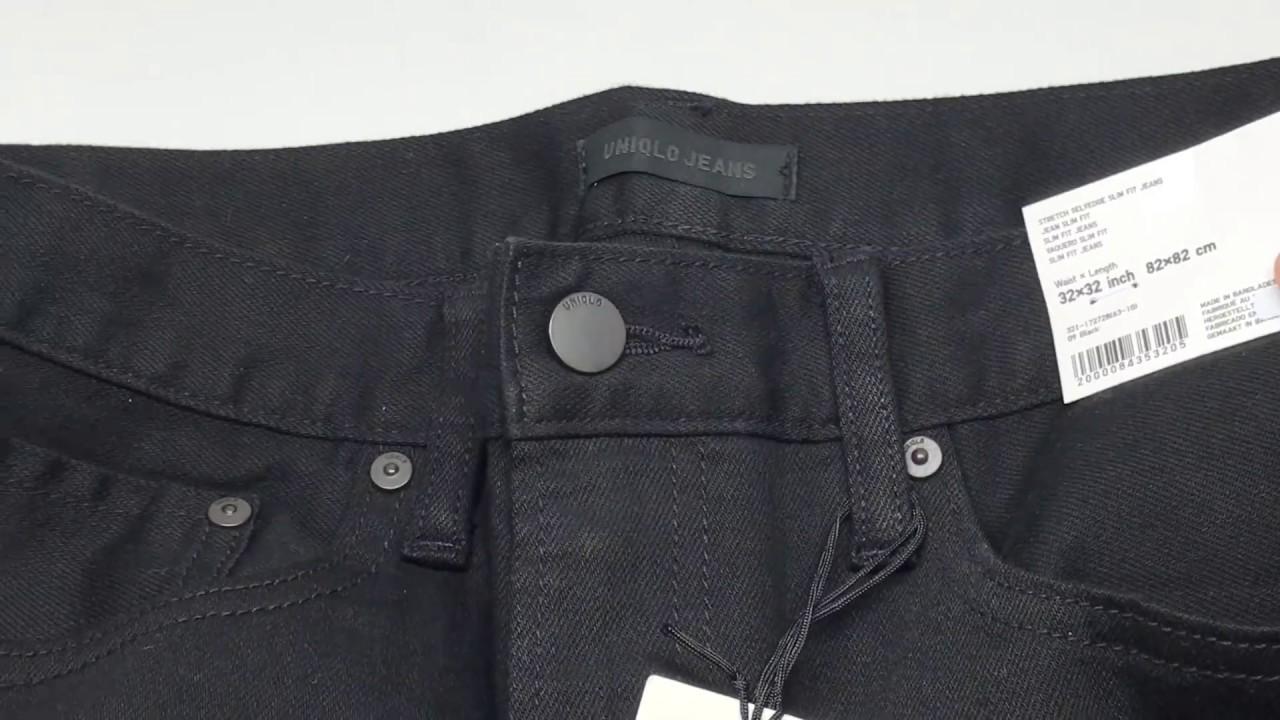 a703efd3dabad6 Uniqlo Men Stretch Selvedge Slim-Fit Jeans Black 🤘🏼【4K】 - YouTube