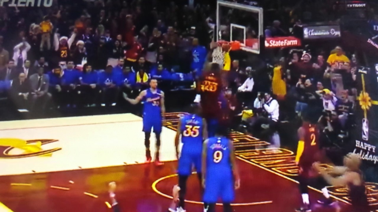 lebron james dunks over kevin durant and draymond green to