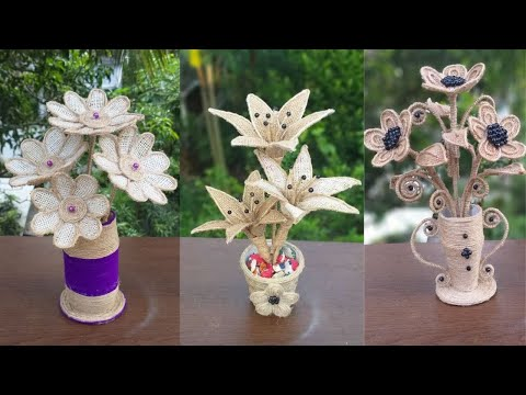 Beautiful 3 Flower And Vase Decoration Ideas With Jute Rope || Best Out Of Waste Jute Rope Craft
