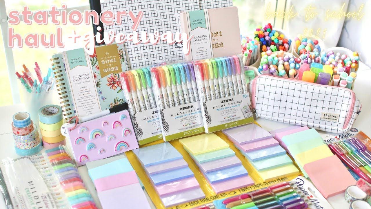 Back to school: supplies shopping, huge stationery haul, & giveaway 2021 ✏️🌸