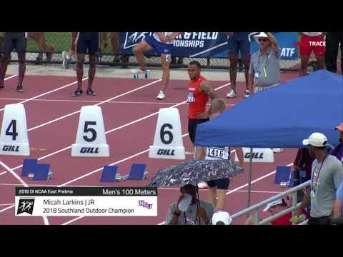Bizarre False Start In Men's 100m Heat | 2018 NCAA East Prelims