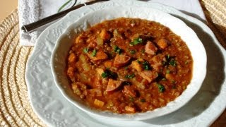 Savory Lentil, Sweet Potato & Smoked Sausage Soup