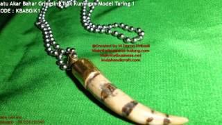Kalung Titanium Liontin Batu Akar Bahar Gringsing Ikat Kuningan Model Taring 1