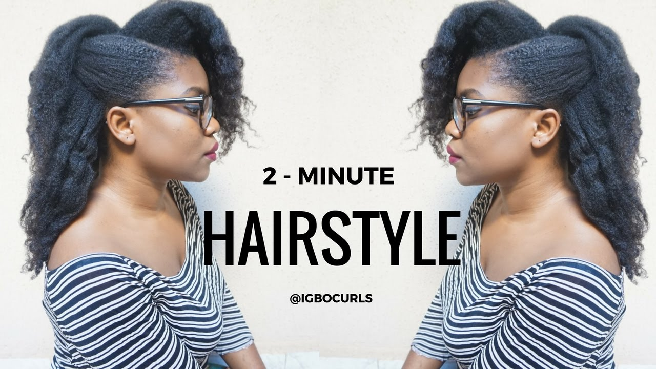 NATURAL HAIRSTYLE ON 4C BLACK NATURAL HAIR- 2 Minute Romantic Updo ...
